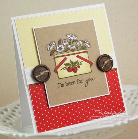 Strawberries & daisies card
