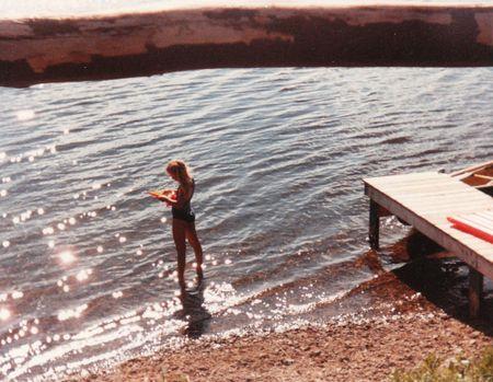 Pondering in lake