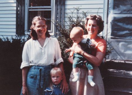 With grandma as toddler