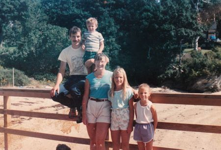 Family photo on dock