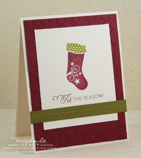 Single scarlet stocking card