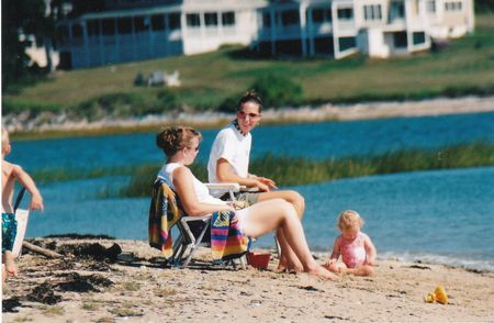 Jen & beach with kids