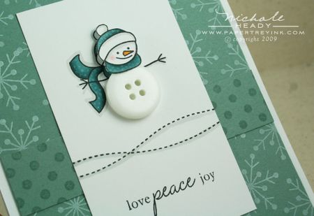 Snowman card front closeup
