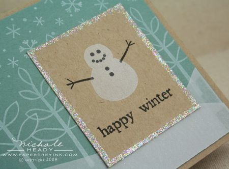 Snowman card closeup