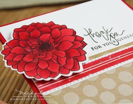 Adhered red dahlia