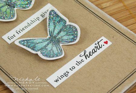 Blue glittered butterfly