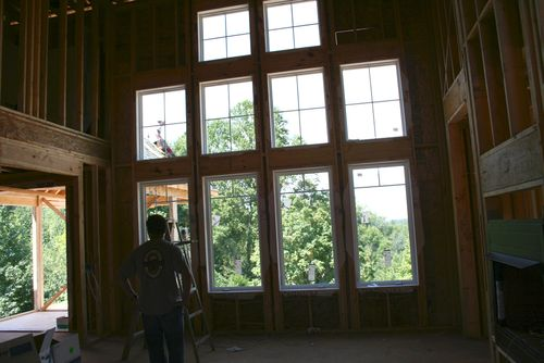 Great room windows from foyer