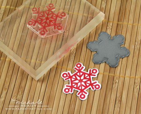 Stamping red snowflake