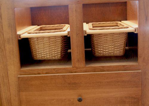 Cabinets island baskets closeup