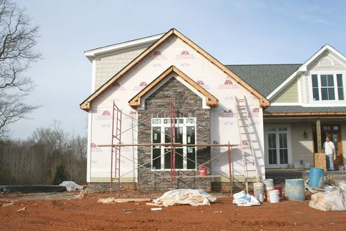Garage stone front