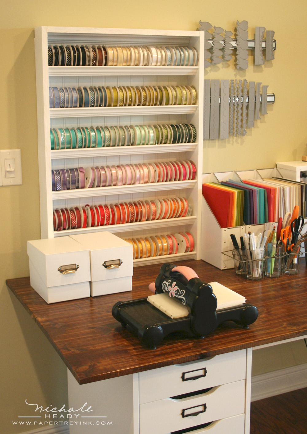 Scrapbook ideas with ribbon - Die Cutting Area