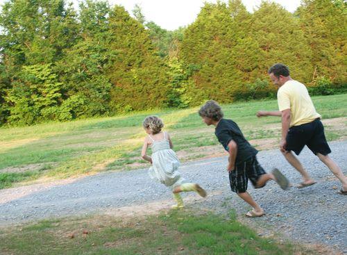 David & kids running