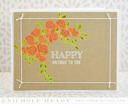 Embossed Flowers Birthday Card