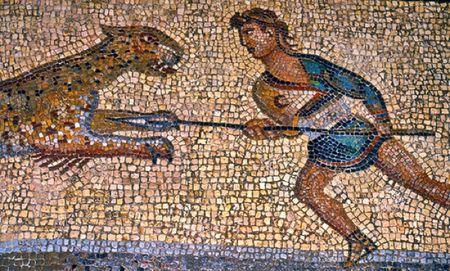 Mosaic Of Carpophorous Fighting A Leopard
