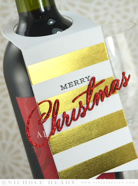Glitter Christmas Wine Tag