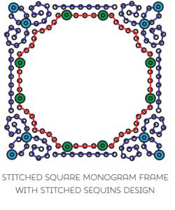 Monogram Frame w Sequins Square
