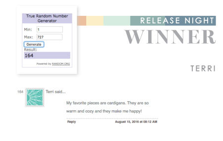 August 2016 Release Night Winner Terri